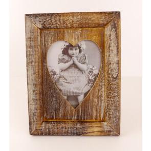 Dřevěný rámeček na fotku ve tvaru srdce velký