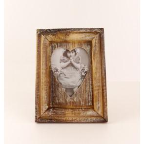 Dřevěný rámeček na fotku ve tvaru srdce malý