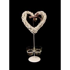 Svícen na dvě čajové svíčky se srdcem