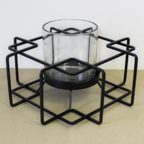 Svícen kov/sklo černý 1ks