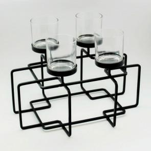 Svícen kov/sklo černý 4ks