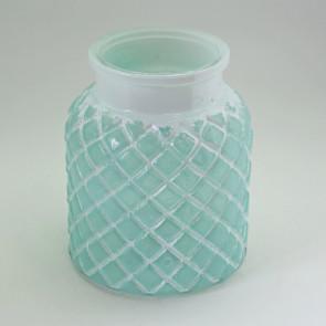 Svícen sklo pr.13,5xv16,2cm zelená