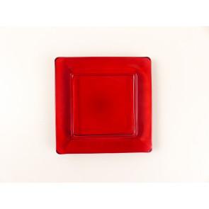Skleněný tácek pod svíčku - červený
