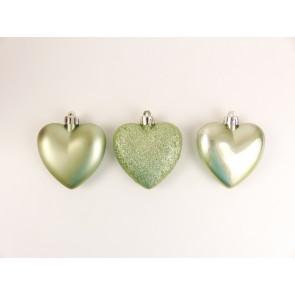 Sada vánočních ozdob 6ks srdce zelená