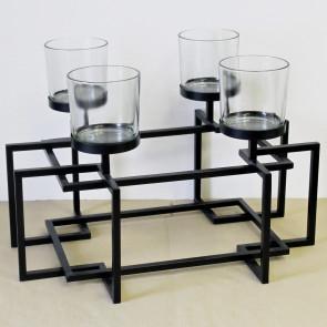 Svícen kov/sklo černý 4ks větší