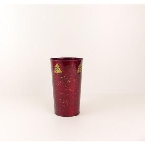 Plechová vánoční váza - červená