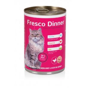Fresco Dinner Cat drůbež + játra, 415g