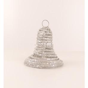 Zvonek z proutí 3D stříbrný  malý