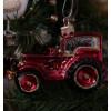 Ozdoba traktor červená skleněná 8,5cm 0223 GLS