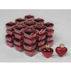 Vánoční skleněné ozdoby srdce 36ks tmavě červená 4cm