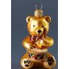 Ozdoba medvídek zlatá skleněná 8cm 1732 GLS