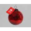 Vánoční koule praskaná červená 7,5cm