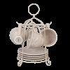 Hrnky s podšálky v kovovém stojánku