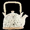 Čajová konvička 0,7 l, černobílá, květy
