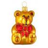 Skleněná ozdoba medvídek s mašlí zlatý 6cm