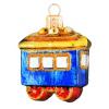 Skleněná ozdoba mini modrý vagon 5cm