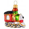 Skleněná ozdoba mini lokomotiva červenozelená 6 cm