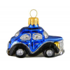 Skleněná ozdoba mini veterán modročerný 5,5cm