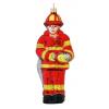 Skleněná ozdoba červený hasič 14cm
