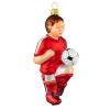 Skleněná ozdoba fotbalista červeno-bílý 12,5cm