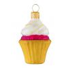 Skleněná ozdoba mini cupcake žlutý košíček 6,5cm