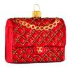 Skleněná ozdoba červená kabelka 6cm
