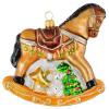 Skleněná ozdoba houpací koník hnědý 11cm