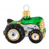 Skleněná ozdoba mini zelený traktor 4,5cm