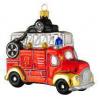 Skleněná ozdoba hasičské auto 11cm